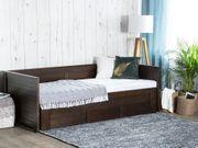 Tagesbett ausziehbar Holz dunkelbraun Lattenrost