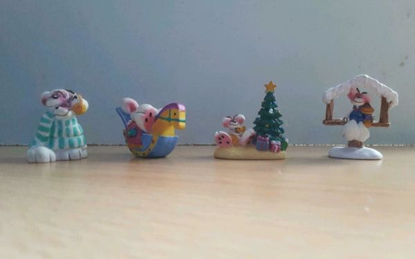 4 Diddl Maus Figuren Schaukelpferd