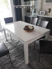Schöner Esszimmertisch weiß ausziehbar weiß