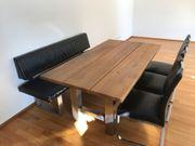 Massiver Eiche-Tisch mit Sitzbank und