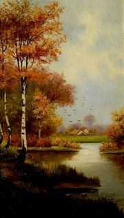 3 tolle alte Gemälde Birken
