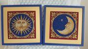 2 Stickbilder Sonne und Mond