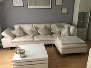 Couch Sofa Leder Garnitur Beige
