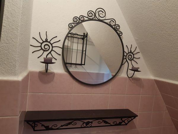 Bad-Set schwarz Metall Spiegel Wandboard