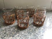 Teegläser mit Korbgeflecht für heiße