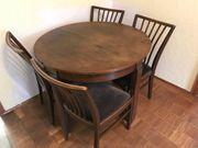 ausziehbarer runder Holztisch - mit 4
