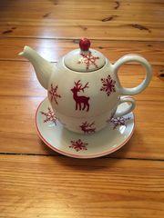 3 teiliges winterliches Teekannenset wie