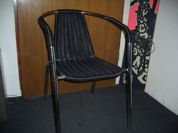 Vintage Stuhl Metall Chrom Mit Kuststoffgeflecht In Oberhaching