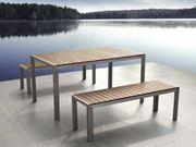 Gartenmöbel Set Aluminium Kunstholz braun