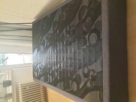 Betten - Boxspringbett 140x200 dunkelgrau Strukturstoff neuwertig