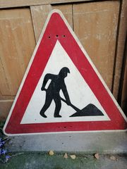 Baustellen Schild alt