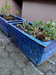 Pflanzkübel-Set aus Keramik Steingut blau