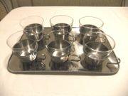 6 Gläser Teegläser mit Tablett