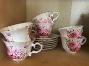 Teeservice mit Blumen 6 tlg