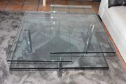 Glas-Edelstahltisch mit zwei schwenkteilen