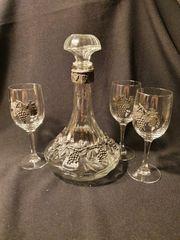 Vintage Glasdekanter mit 3 Gläser