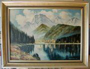 Ölgemälde J Schmitz 1957 Alpenlandschaft