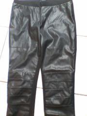 Legging - schwarz - Damen - Hose - vorne Lederimitat
