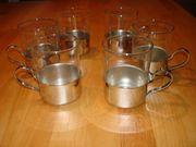 6 Groggläser Teegläser mit silbernem