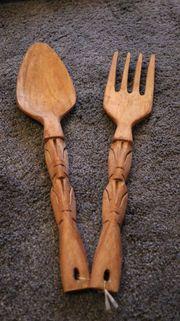 XXL Salatbesteck Holz geschnitzte Griffe - Küchendeko