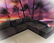 Couch Sofa Schwarz Dunkelblau Dunkles