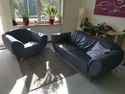 hochwertige moderne Ledercouch mit Sessel