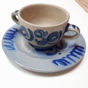 Tasse Steingut mit Teller selten