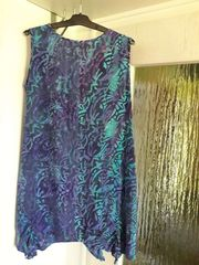 DW-Shop Viskose-Bluse 44 blau Tunika-Stil