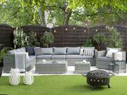 Lounge Set Rattan grau 8-Sitzer