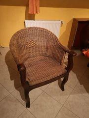 3 Alte Korbstühle Rattan Sessel