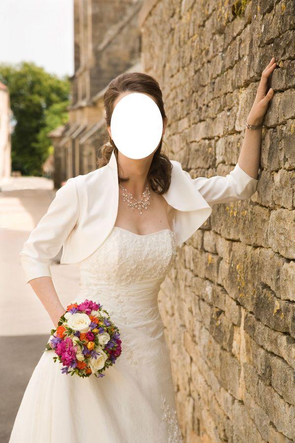 Hochzeitskleid elfenbeinfarben Gr 36