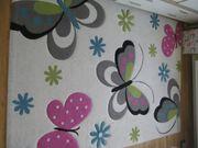 Kinderteppich Teppich Blumen Schmetterling