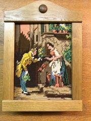 Schlüsselkasten Holz mit Gobelinbild Rosenkavalier