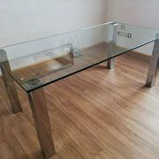 Tisch - Glas - Chrom - Esstisch - Bürotisch