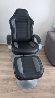 Sessel inkl Hocker schwarz