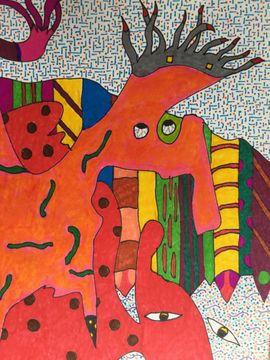 Kunst, Gemälde, Plastik - OriginalGemälde v JOHANN LESCHINKOHL Regenwurmkopfschlange