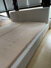 TOP Bett aus Kunstleder weiß