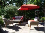 Gartenmöbelgarnitur aus Polyrattan hellgrau und