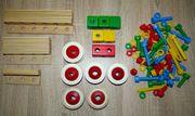 Holz Konstruktionsspielzeug Leisten Räder Schrauben