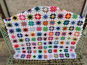 Decke mit Spitzenkante Grannysquare Handarbeit