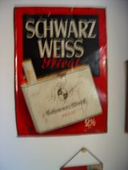 1 Werbeblechschild Zigaretten Schwarz Weiss
