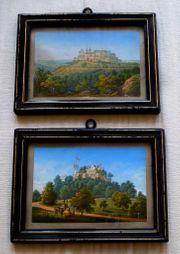 2 tolle uralte Lithografien koloriert