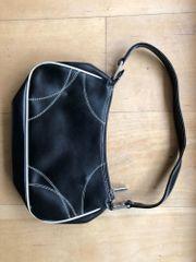 Damenhandtasche Leder schwarz mit weißen