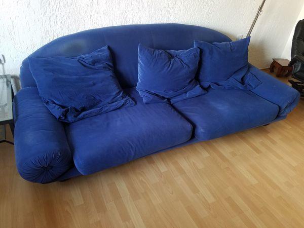Wohnzimmercouch Sofa blau an Selbstabholer