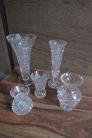 Fünf Vasen Bleikristall