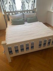 Doppelbett Holz weiß 160x200 cm