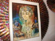 ein ägypisches großes wandbild tutanchamun