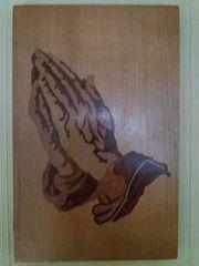 Betende Hände Holz-Intarsienbild