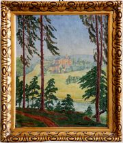 Antik-Gemälde HANS FRIEDRICH 1887 Waldblick