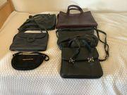 11 Taschen meist echt Leder